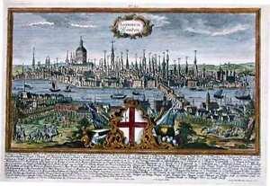 Antique map, Londinum Londen