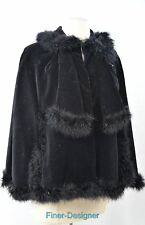 VINTAGE black velvet fur boa Cape Coat Cloak jacket shawl wrap stole SZ S M L XL