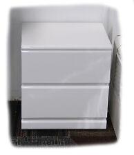 Leonie 2 Drawer Hi Gloss White Bedside Table  - Fully Assembled - BRAND NEW
