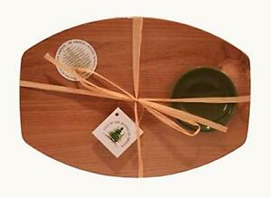 Out of the Woods of Oregon BREAD & OIL Red Alder Hardwood Board & Green Bowl NEW