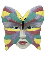 Porcelain Ceramic Decorative Face Mask-Lady Butterfly Face-Wall Hanging 8""