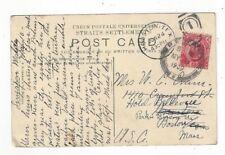 1909 Penang Malaya PPC to Houston TX Redirected to Boston MA, Singapore View