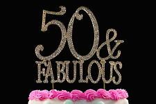 50 and Fabulous Crystal Cake Toppers Bling 50th Birthday Cake Topper