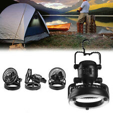 2 In 1 Camping Ceiling Fan 18 LED Light Hanging Tent Lamp Lantern Outdoor Lamp