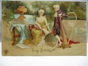 1904 POSTCARD TO MY SWEETHEART, COLONIAL LADY AND MAN WITH HARP