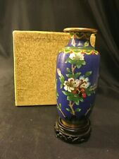 """Vintage Chinese Cloisonne Blue Vase Featuring Flowers w/ Stand & Box 6"""""""