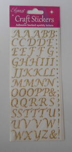 BEAUTIFUL GOLD STYLISED ALPHABET GLITTER SPARKLE STICKERS  FOR CARDS AND CRAFTS