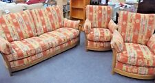 ERCOL Renaissance Solid Ash & Fabric Three Piece Sofa & Armchair Suite - R22