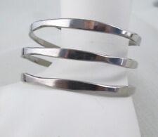 Vintage KESWICK Stainless Steel Triple Wire WRAP Bangle Bracelet