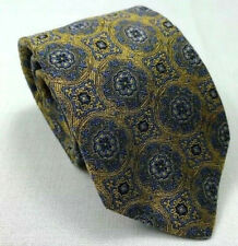 "robert talbott best class gold blue floral medallion silk neck tie 58"" x 3.25"""