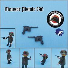 2 MAUSER PISTOLE C96 *NUEVAS 30* PLASTICO GUERA MUNDIAL GERMAN WW2 WW1 PLAYMOBIL