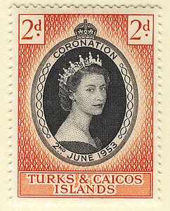 TURKS & CAICOS ISLANDS 1953 CORONATION BLOCK OF 4 MNH