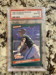 1986 Donruss The Rookies Jose Canseco ROOKIE RC #22 PSA 10 GEM MINT