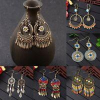 Vintage Boho Ethnic Tassel Flower Wooden Beads Drop Dangle Stud Women Earrings