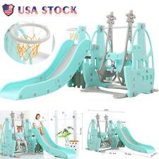 Toddler Home Safe Playground Climbing Slide Swing Basketball 4-in-1 Game Toy Set