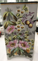 Beautiful Vintage Hand Painted Floral Vase * Flowers & Butterfly *