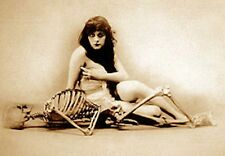 THEDA BARA NUDE WOMAN HANGS W SKELETON 1ST GOTH GIRL DEATH LAID BREASTS PHOTO