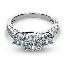 2.73 Ct Three Stone Lab Engagement Ring Lifetime Solid 14k White Gold