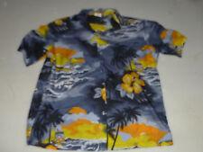 Vintage Kalena Diamond Head Hawaiian Shirt Button Up Size L Wind Surfing Volcano