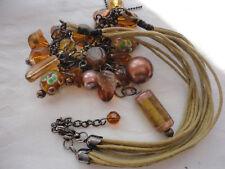 """Faux pearl murano glass charm silver-tone 41 gram 15.5-17"""" multi-corded necklace"""