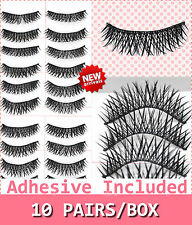 10 Pairs False Eyelashes Natural Fake Black Cross Curly Handmade Eye Lashes #10