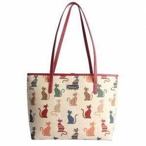 Signare Gobelin Schultertasche Stilisierte Kätzchen Damen Handtasche Tapestrie