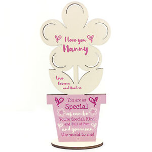 Novelty Gift For Nanny Birthday Wood Flower Personalised Grandparent Gifts