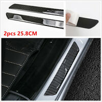 2x Universal Real Carbon Fiber Car Door Scuff Plate Sill Cover Protector Panel