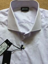 "Justcavalli Long Sleeve Shirt, Purple Striped, Size 16-3/4"" (43 cm), RRP£165"