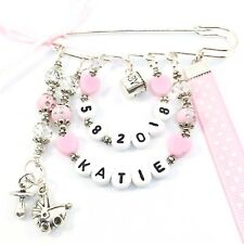 Baby Name Pin Newborn Pin Stroller Pin Nappy Bag Pin Baby Charms Pink Baby Girl