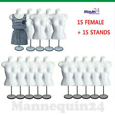 15 Mannequin Female Torso Form - 15 White Dress Body Forms w/15 Stands