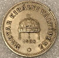 1908 KB Hungary 10 Filler Coin Franz Joseph I. Free combined Shipping.