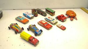 Vintage Tin Litho Lot 13 - Race Car/trains/vehicles/turtle  - Made In Japan/USA