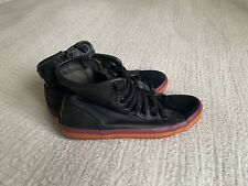 Lovely Camper Black Leather Sneakers Trainers Size 38 Uk 5 Pink Orange Trim