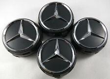 Mercedes Benz Wheel Raised Center Caps Ember BLACK+ BLACK Hubcaps 75MM
