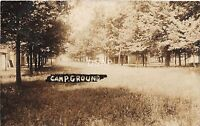 B18/ Sabina Ohio Postcard Real Photo RPPC 1909 Campground Scene Cottages