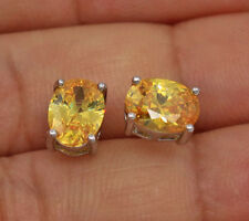 18K White Gold Filled - 6*8MM Oval Citrine Topaz Cocktail Women Stud Earrings
