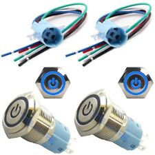 Socket Plug+16mm 12V LED Momentary Push Button Metal Power Switch Blue
