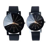 1Pair Men Women Lovers Dial Luxury Leather Round Quartz Analog Wrist Watch GIFT