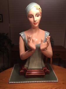 """Vintage Antique Pelletier's Department Store 28"""" Plaster Female Mannequin"""