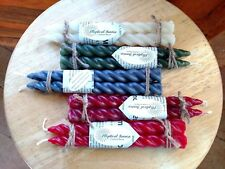 Handcrafted recycled wax candles, pair of 7.5-inch spiral tapers, many colors