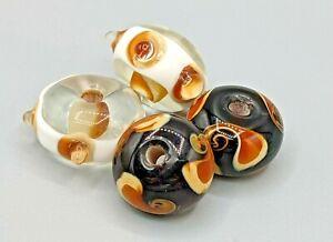 4 pcs Glass Murano Lampwork Beads - Rondelle - B-A491