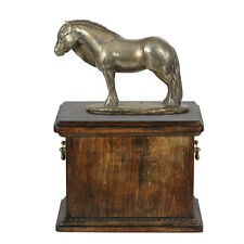 Solid wood casket with Bronze Statue Pony Horse cremation Urn for Ashes (3)