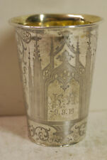 Antique silver beaker, possibly Austrian- Hungarian, beautifully engraved, 1800