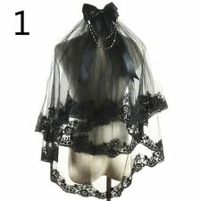 Black Bridal Wedding Veil Lace Edge with Comb Bow Gothic Lolita Party Fairy Chic