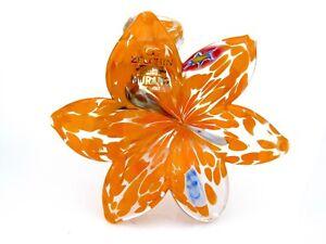 Original Label & Box Murano Art Glass Orange Millefiori Murrine Open Flower