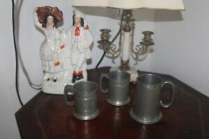 Antique English Pewter Pint Mug tankard lot glass bottom