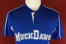 MuckDawgs #1 Barker Blue Baseball Jersey Shirt size Small Batavia Muckdogs MiLB