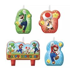 4 Pack Super Mario Brothers Happy Birthday Candles Cake Toppers
