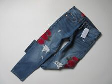 Levis 501 Cropped Jeans 28 X 26 Button Fly DESTROYED Rose Embroidered